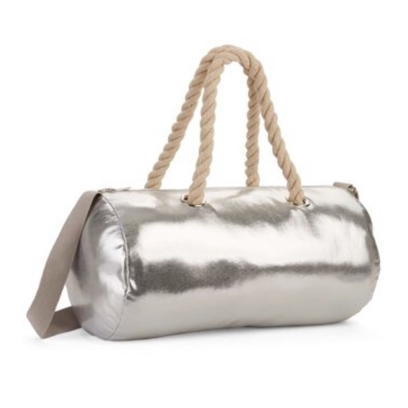 silver metallic leather pouch with cord handle